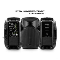 Kit Caixa de Som PW 200 Wireless Ativa + Passiva Bluetooth 400W RMS