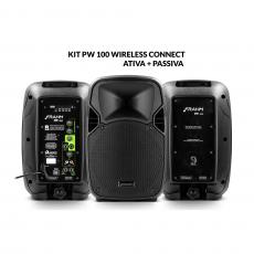 Kit Caixa de Som PW 100 Wireless Ativa + Passiva Bluetooth 200W RMS